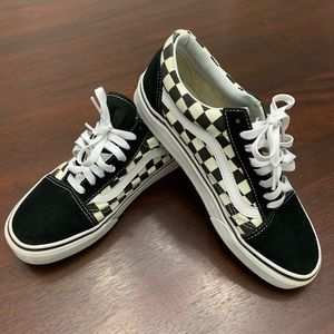 VANS primary check old skool black and white shoes